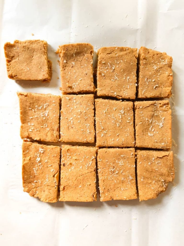 An overhead shot of the whole chickpea blondies