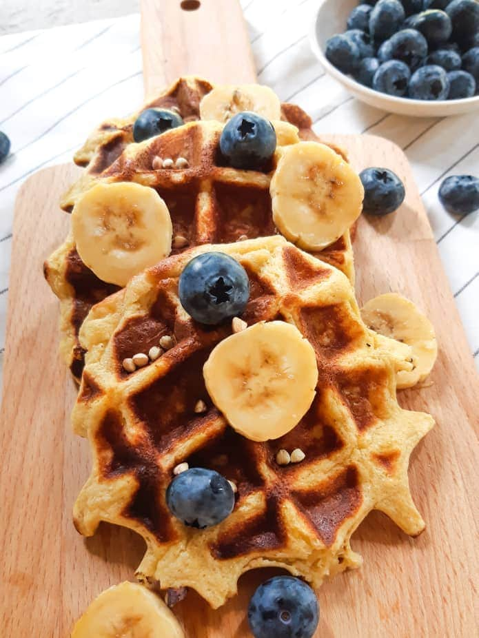 Vegan waffles close up