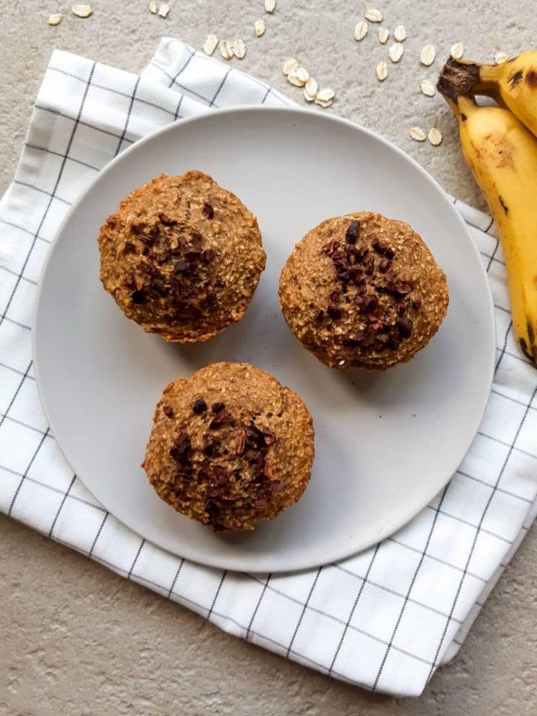 Vegan banana oatmeal muffin on plate
