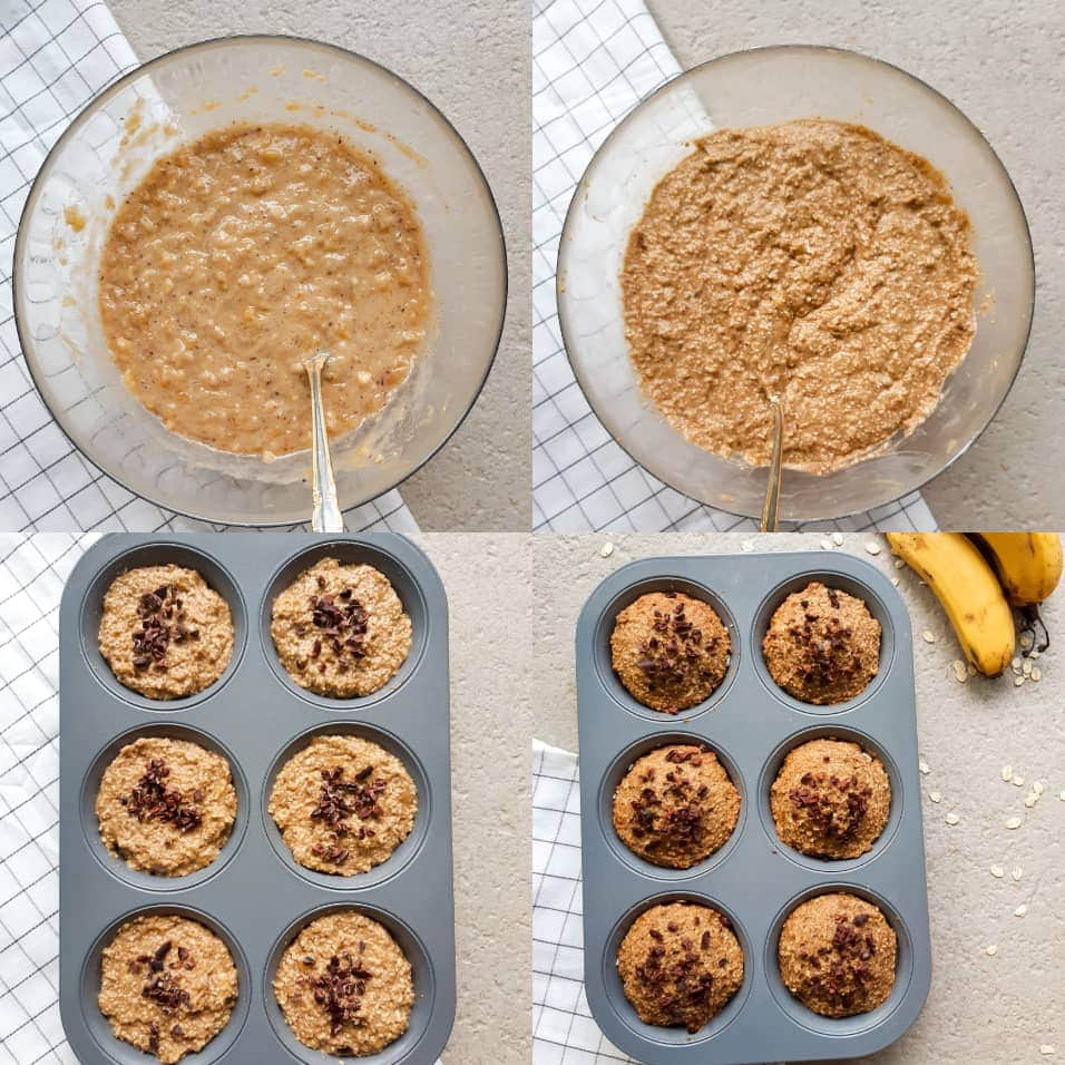 Vegan banana oatmeal muffin baking process