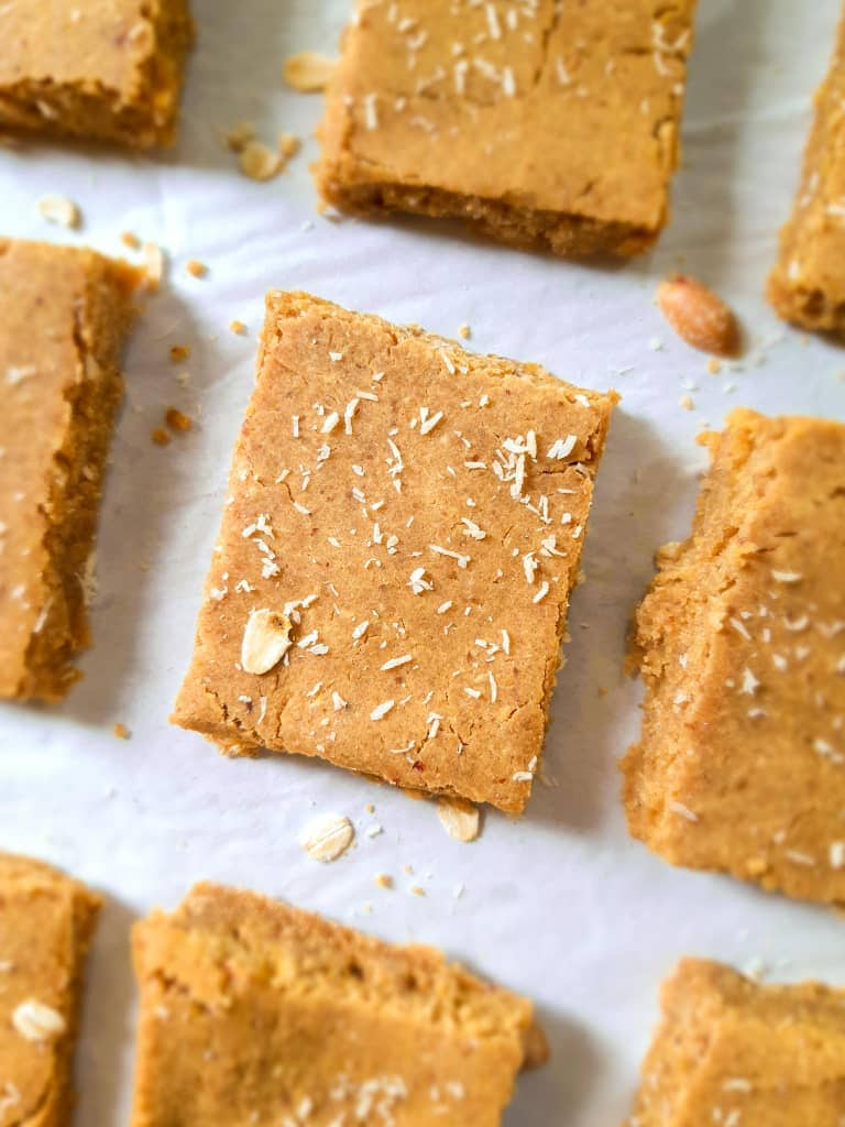 A close up shot of chickpea blondies