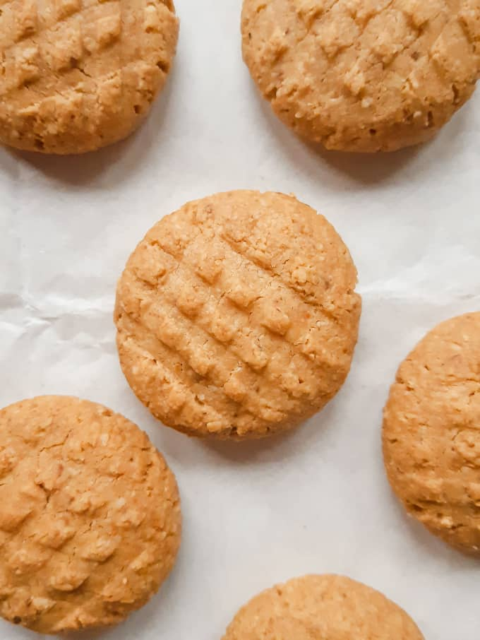 A close up shot of peanut butter cookies