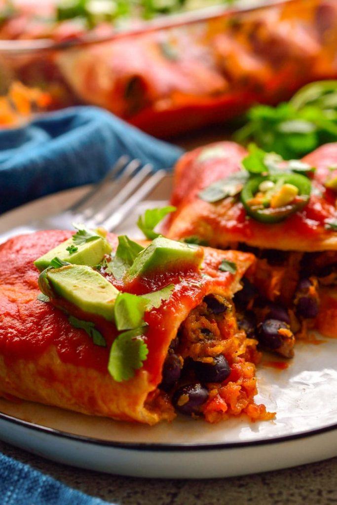 A close up shot of enchiladas