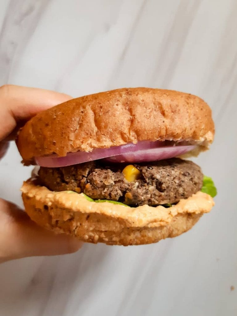 A side view of black bean burger