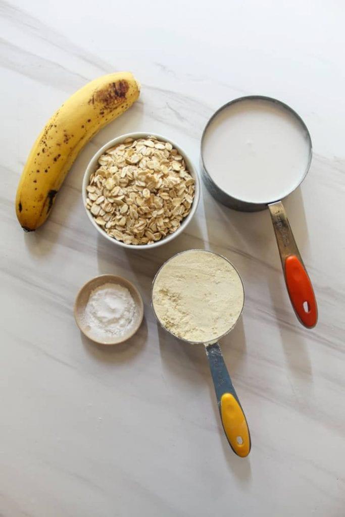Ingredients needed for easy vegan banana pancakes