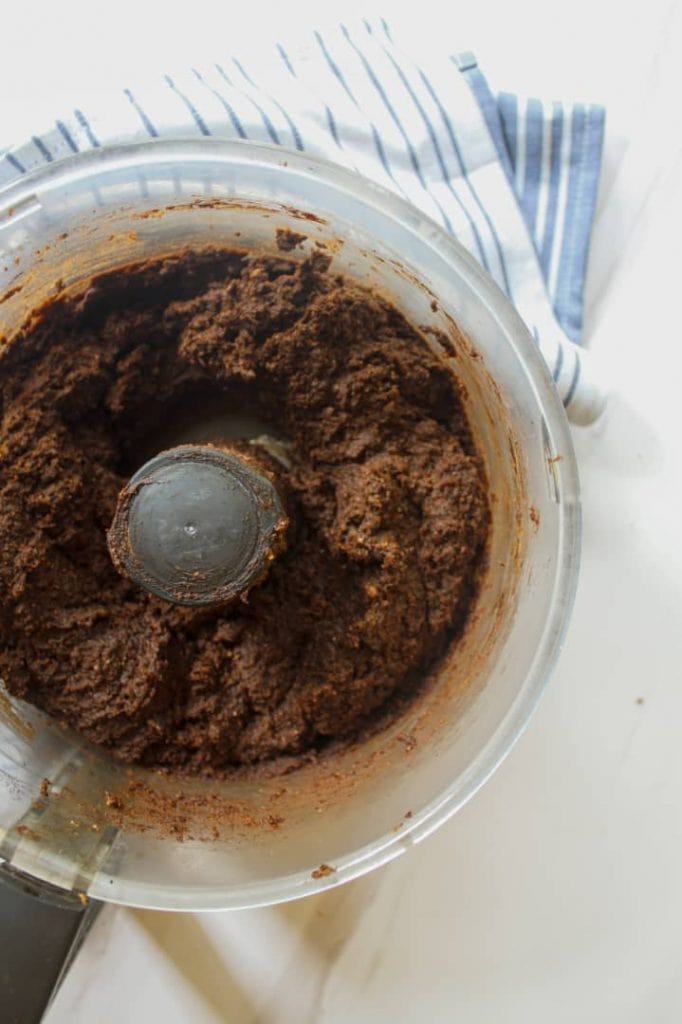 Brownie batter in a food processor
