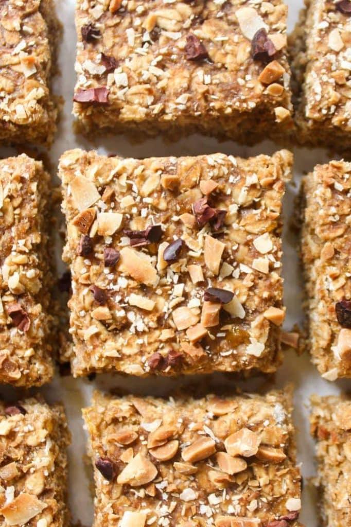 A close up shot of the oatmeal bars
