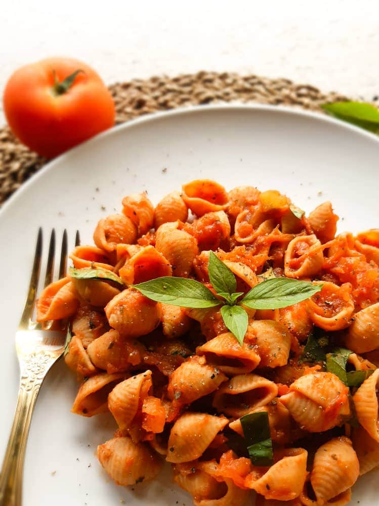 A close up shot of tomato pasta
