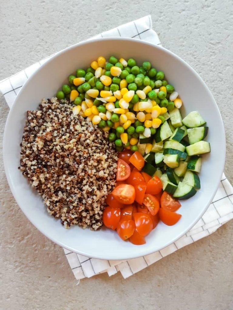 Ingredients needed for quinoa salad