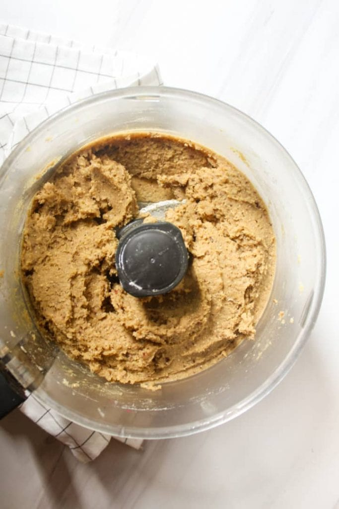 Dough of blondies in a food processor