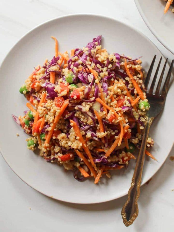 Salad served on a purple plate