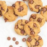 Cookies scattered on a white background