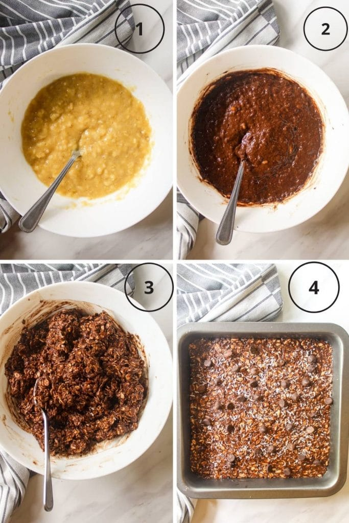 A collogue of the making of baked oats - mashing banana, adding in cocoa powder and peanut butter, adding in oats and transferring it to a baking pan