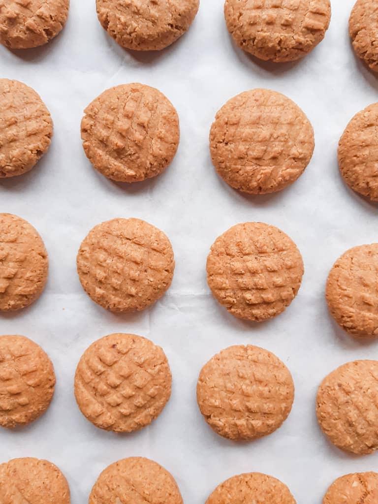 Cookies arranged in rows