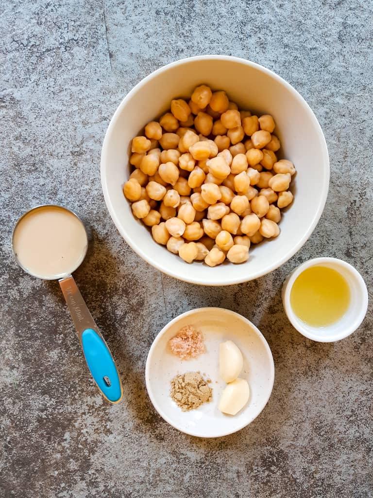 Ingredients used to make hummus