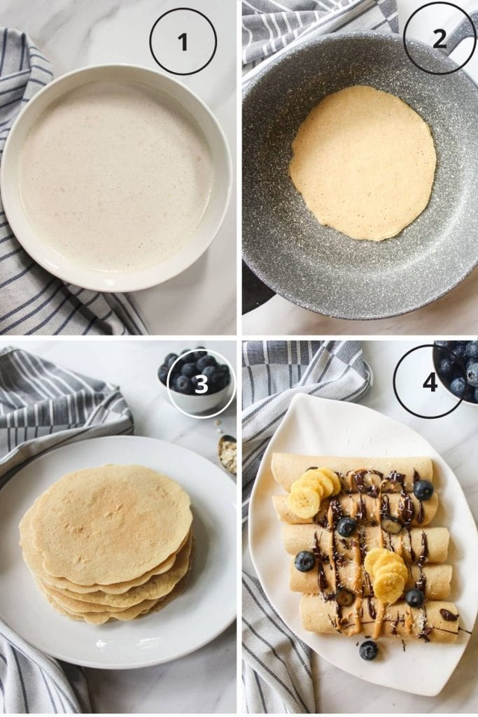 Process shot of the making of crepes - letting the batter rest, cooking them, stacking them together and serving them up