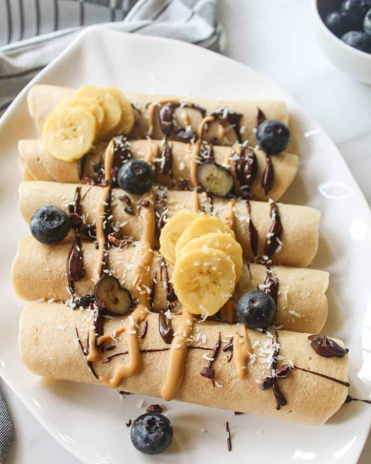 Close up shot of rolled up crepes