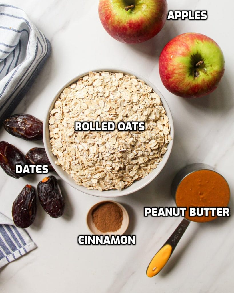 Ingredients needed like rolled oats, peanut butter, dates, apples and cinnamon