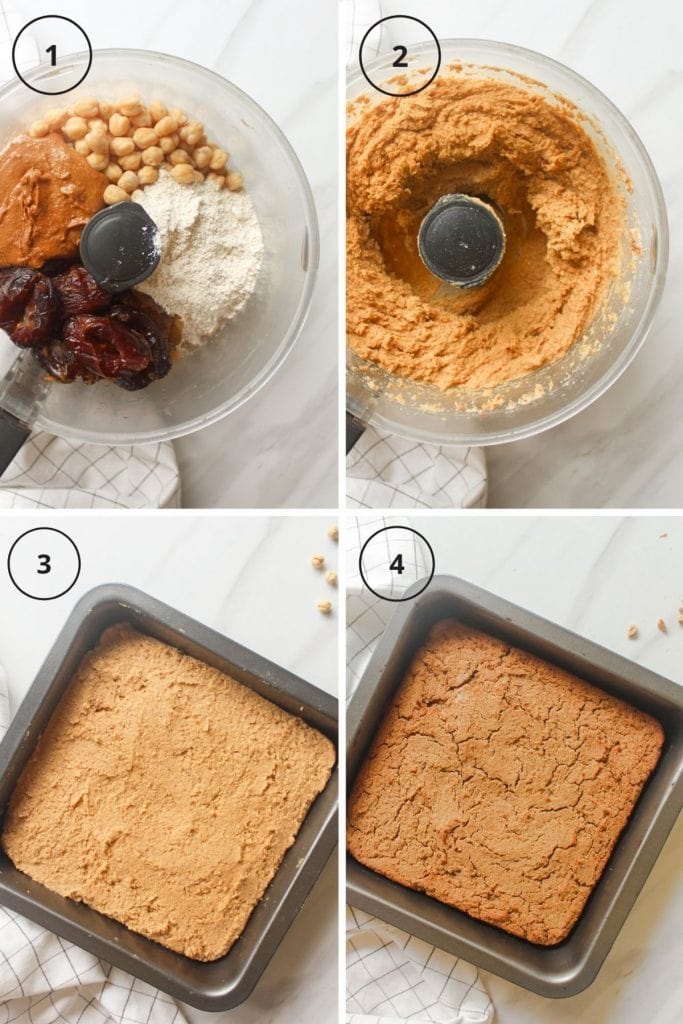 Steps involved including placing ingredients in food processor, blend until smooth, transferring it into a baking tray and the final shot after it is done baking