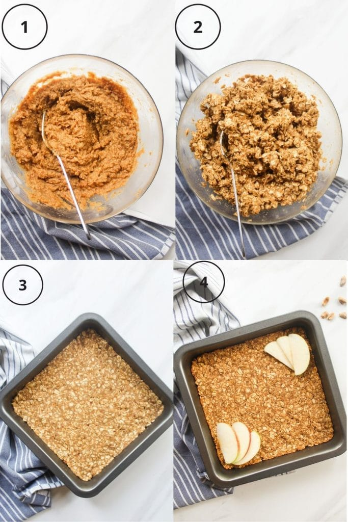 Making process including mixing the wet ingredients, adding in the rolled oats, transfering the mixture to a baking pan and the end product
