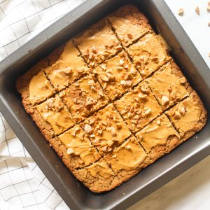 Blondies in a black baking pan