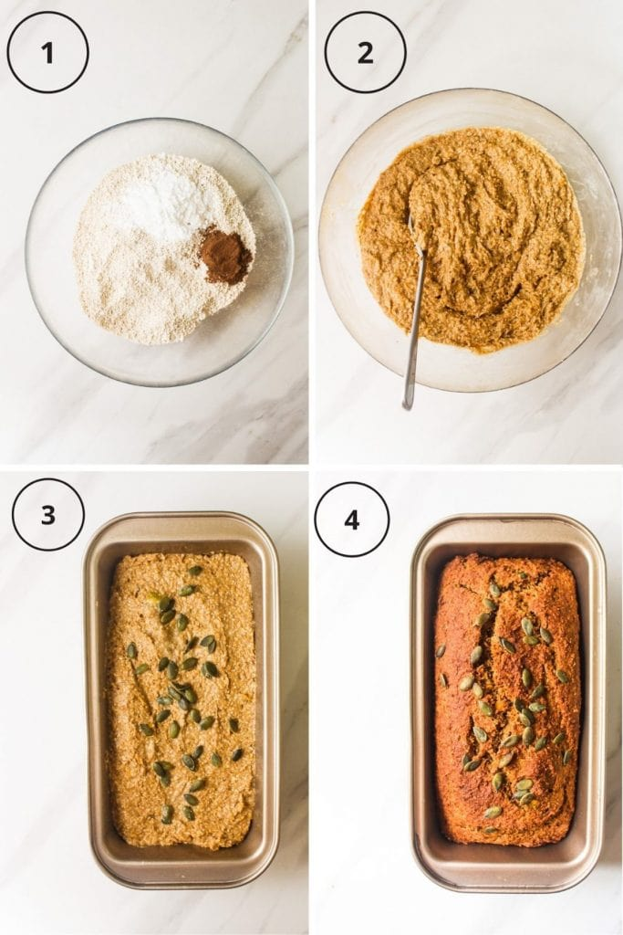 Making process including combining the dry ingredients, mixing the batter, placing it in the loaf pan and the final product.