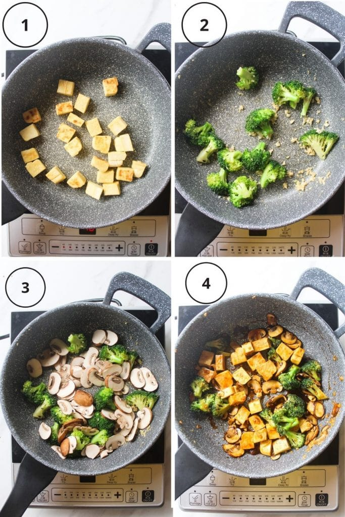 The making process like pan frying the tofu, sauteing the garlic and broccoli, adding in the mushrooms and adding in the tofu and stir-fry sauce.