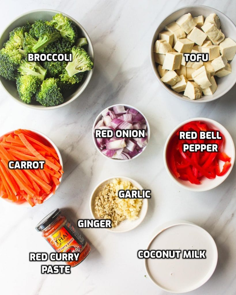 Ingredients needed like broccoli, tofu, carrot, red onion, red bell pepper, garlic ginger, curry paste and coconut milk