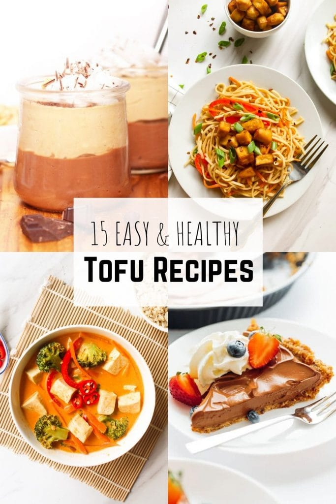 Collage of the pictures from 4 tofu recipes