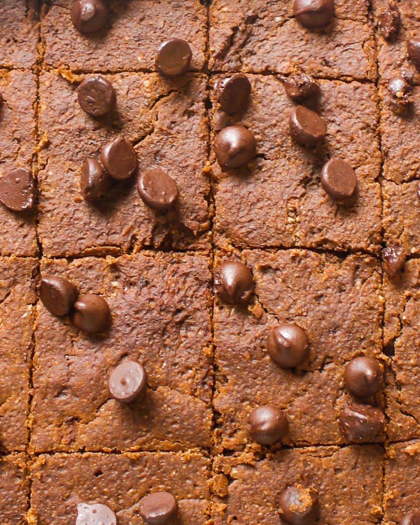 Close up shot of brownies