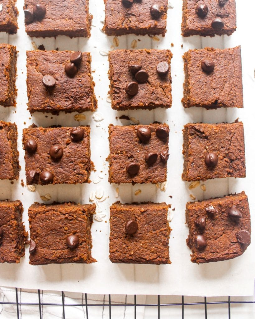 Brownies arranged on a cooling rack