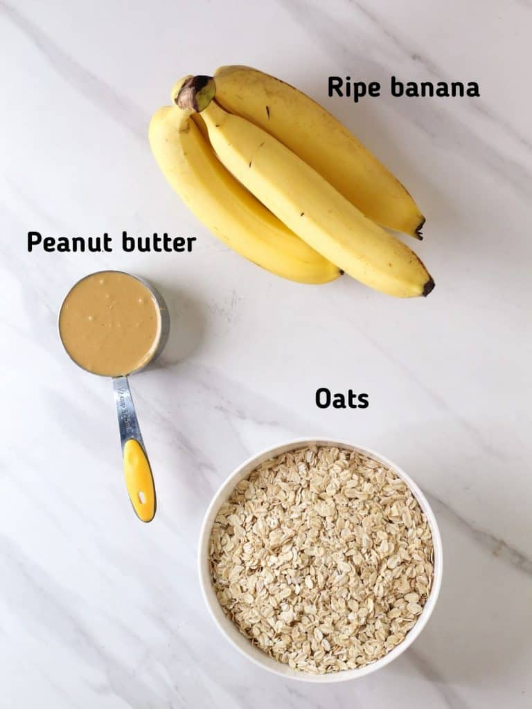 Ingredients needed for this recipe which is ripe bananas, peanut butter and oats.