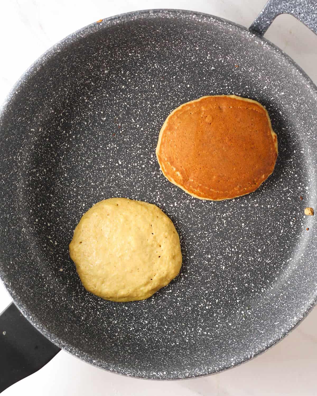 Cooking pancakes in a pan.