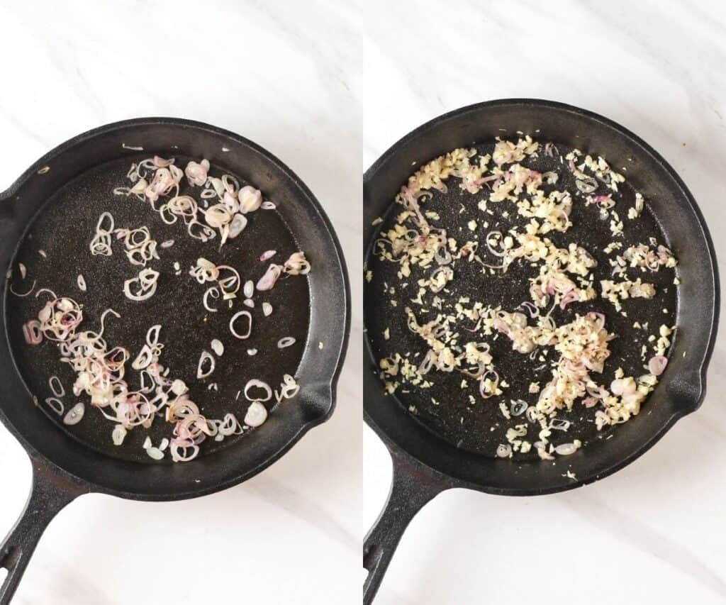 Sauteing onion, then adding in garlic in a cast iron skillet.