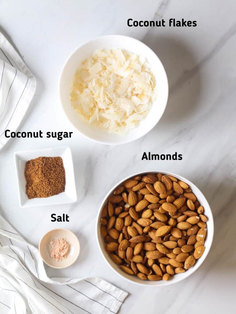 Ingredients needed like coconut sugar, coconut flakes, almonds and salt.