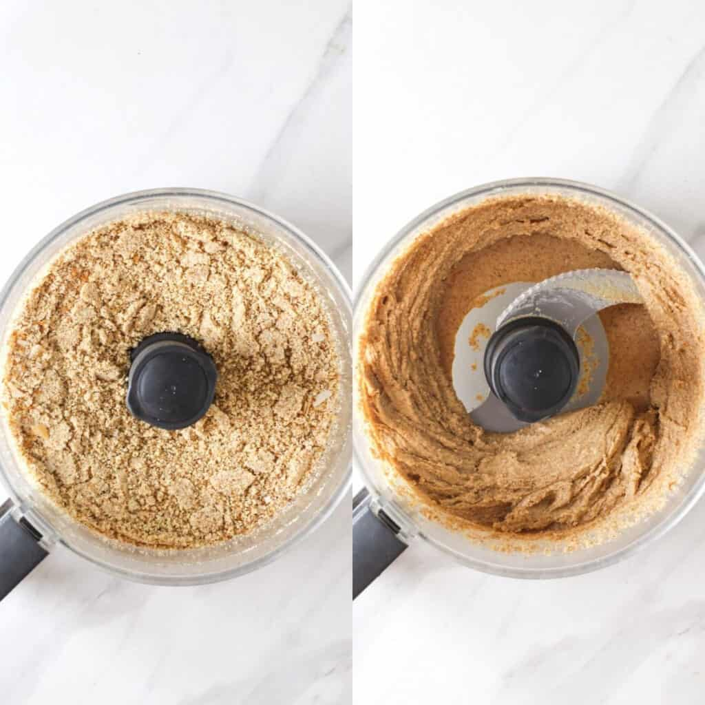 Almonds turned clumpy, then into a grainy almond butter after further processing