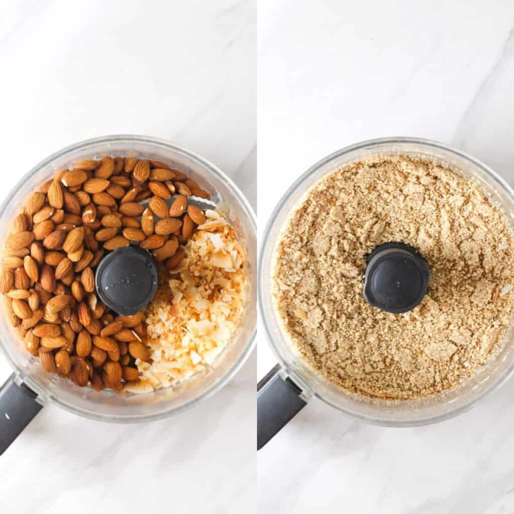 Placing almonds and coconut flakes in the blender, then blended until a fine flour forms.