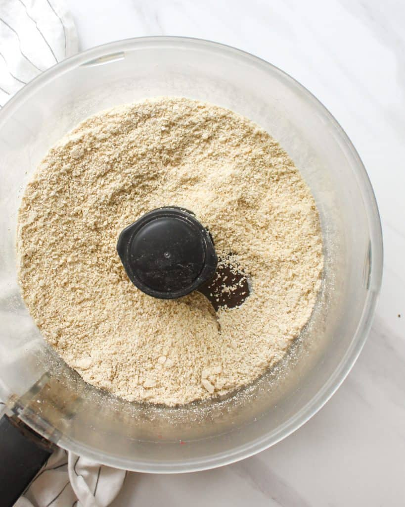 Oat flour in a food processor