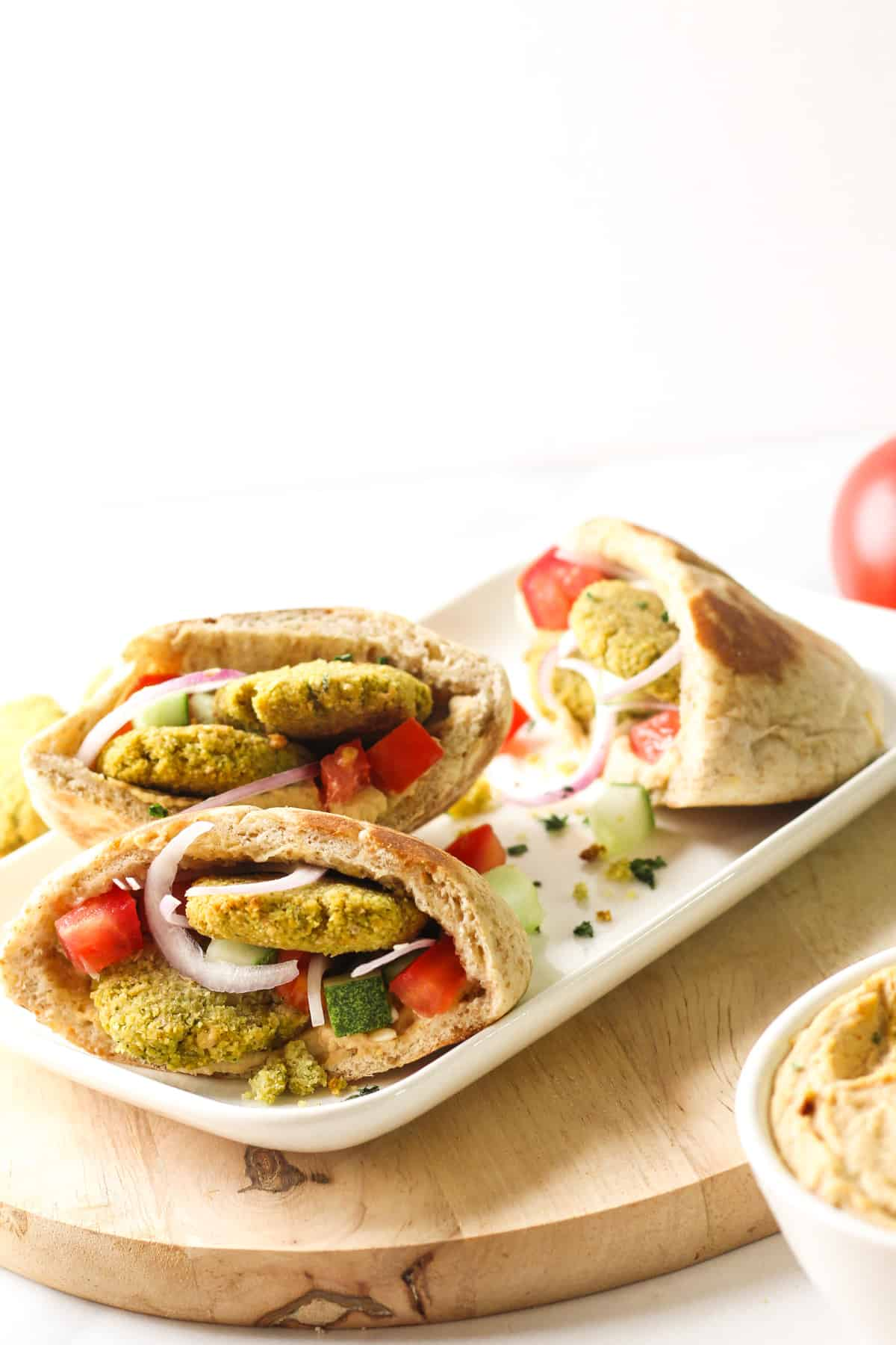Side view of 2 pita stacked on top of one another