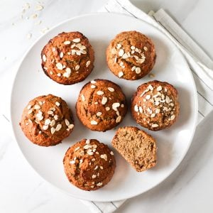 Muffins arranged on a white plate.