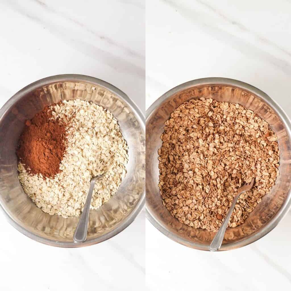 Mixing the oats and cocoa powder together.