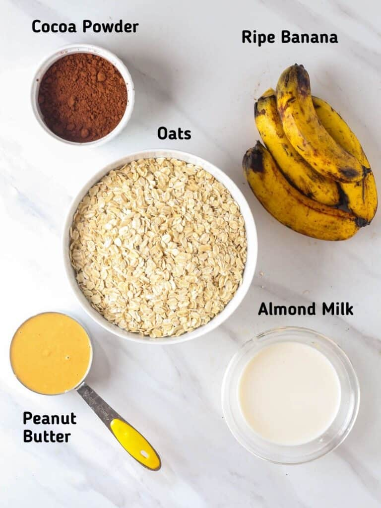 Ingredients needed like cocoa powder, ripe banana, oats, peanut butter and almond milk.
