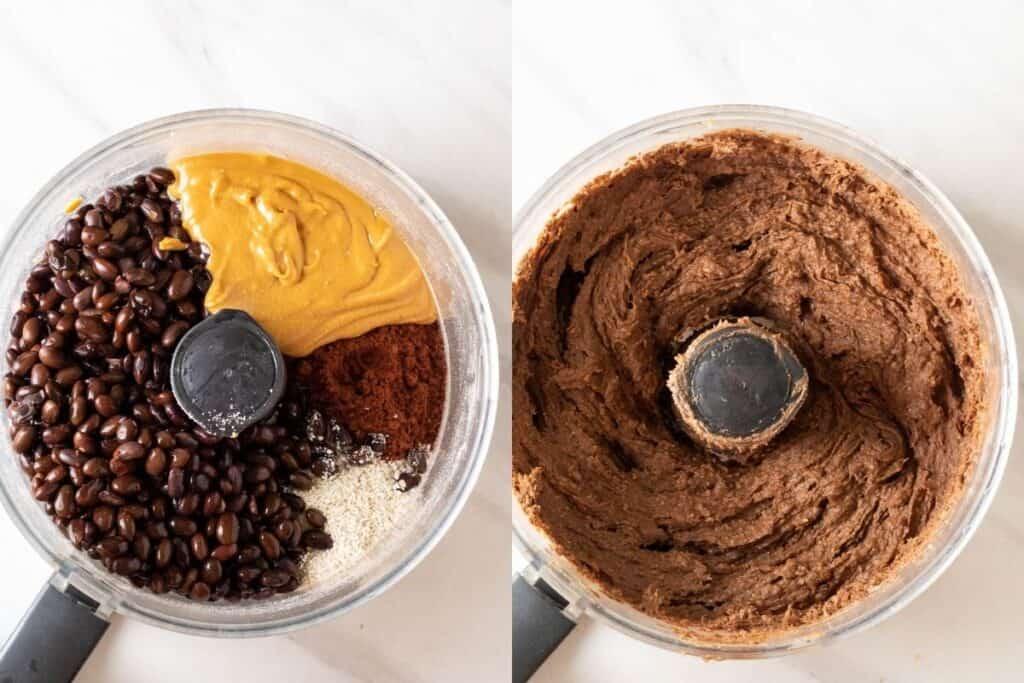 Blending all ingredients in a food processor until smooth.