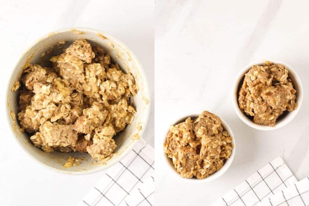 Mixing in the oats and cubed bread.