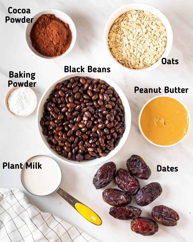 Ingredients needed to make vegan black bean brownies.