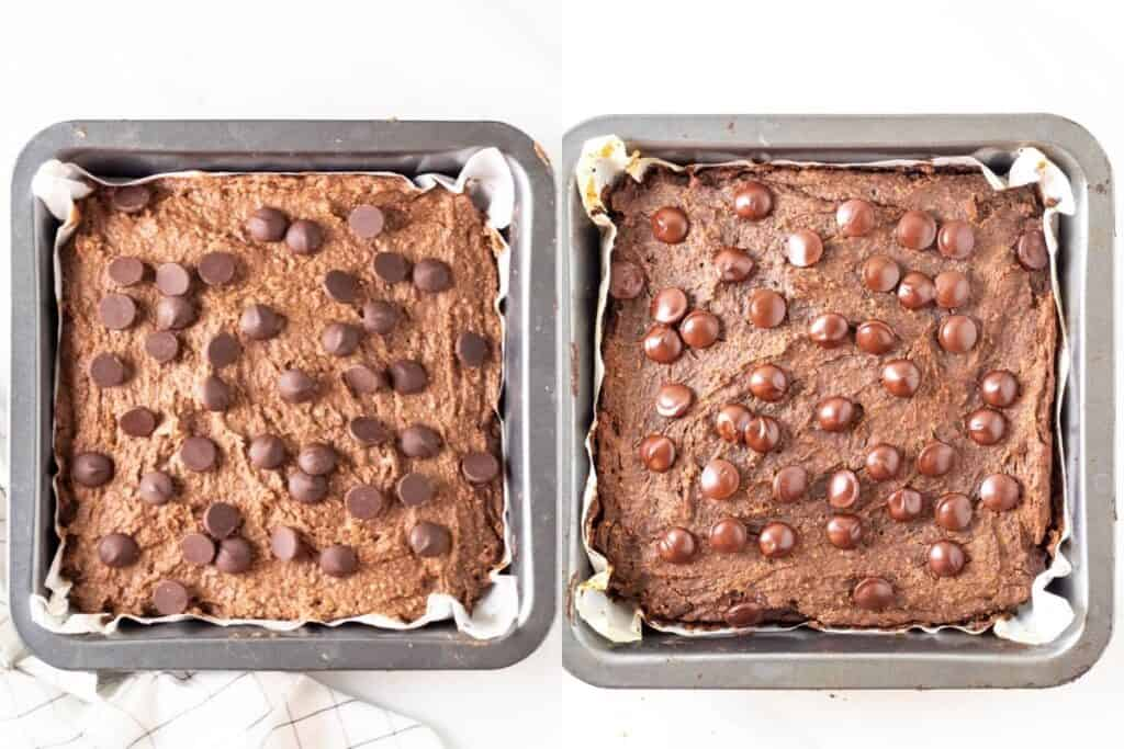 Brownies before and after baking.
