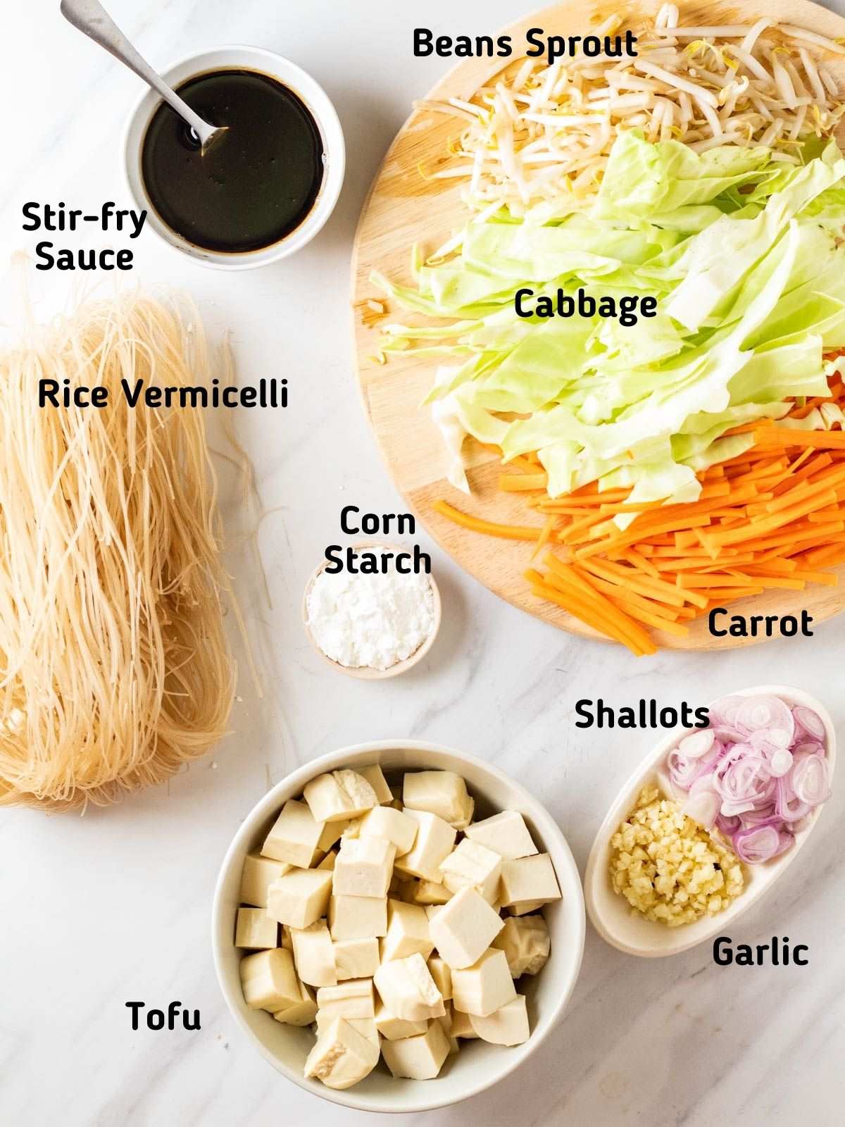 Ingredients needed to make stir-fry rice vermicelli.