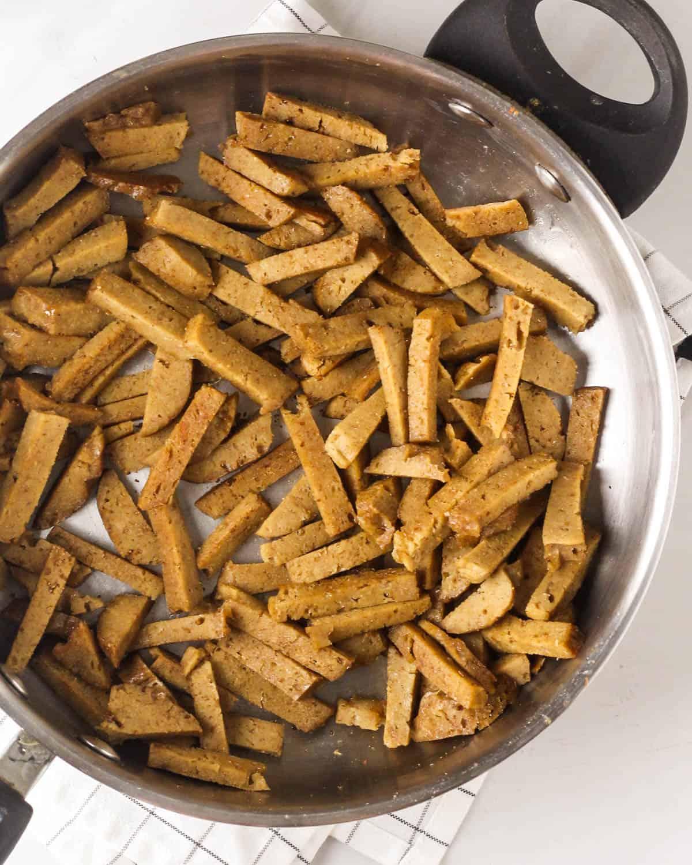 Cooking seitan in a pan