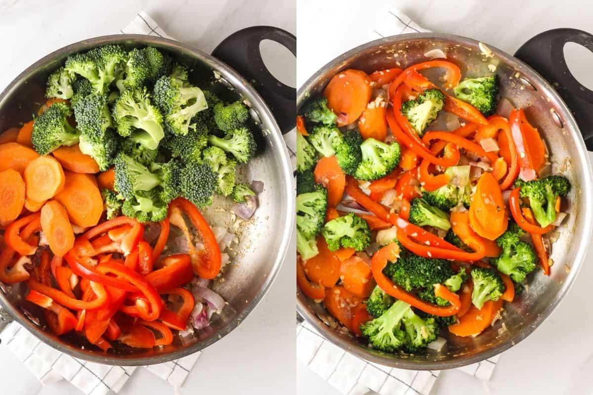 Adding veggies into the pan.