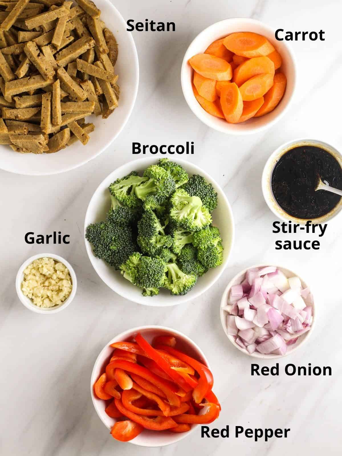 Ingredients needed to make this stir-fry.